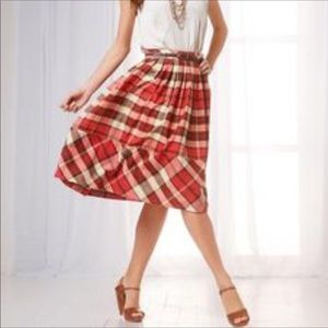 Talbots fall plaid pleated a-line below knee skirt